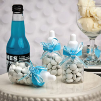 Perfectly Plain Blue Baby Bottle Favours
